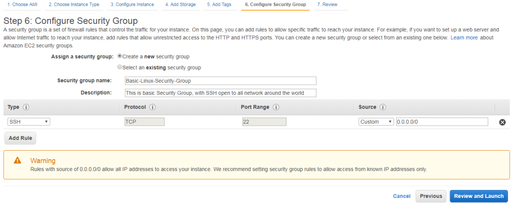 Launch Instance - Security Group